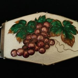 Wonderful Sterling Grapes and Leaves Enamel Brooch